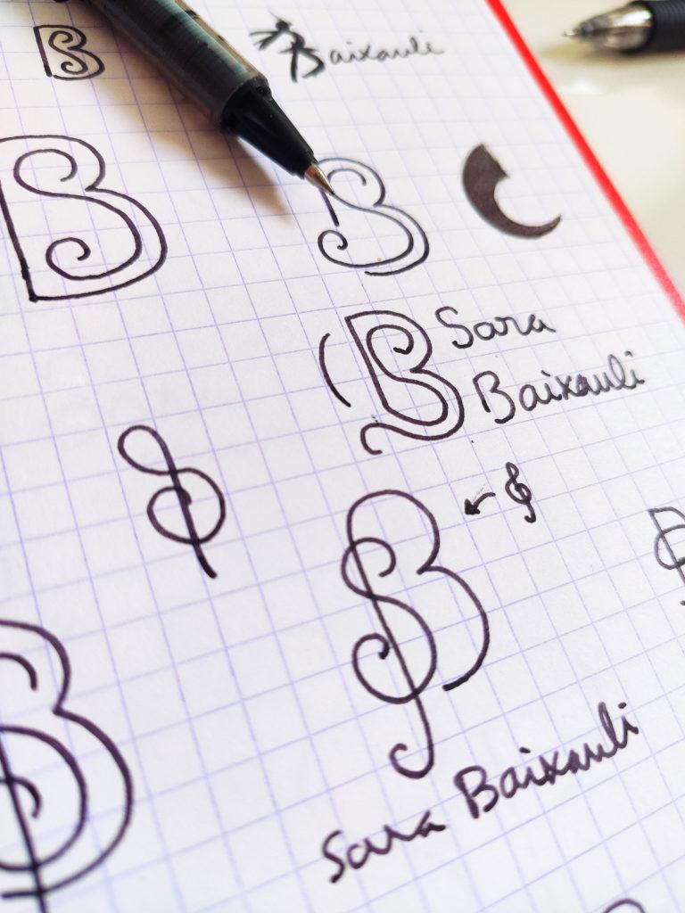 Bocetos dibujo logo Sara Baixauli