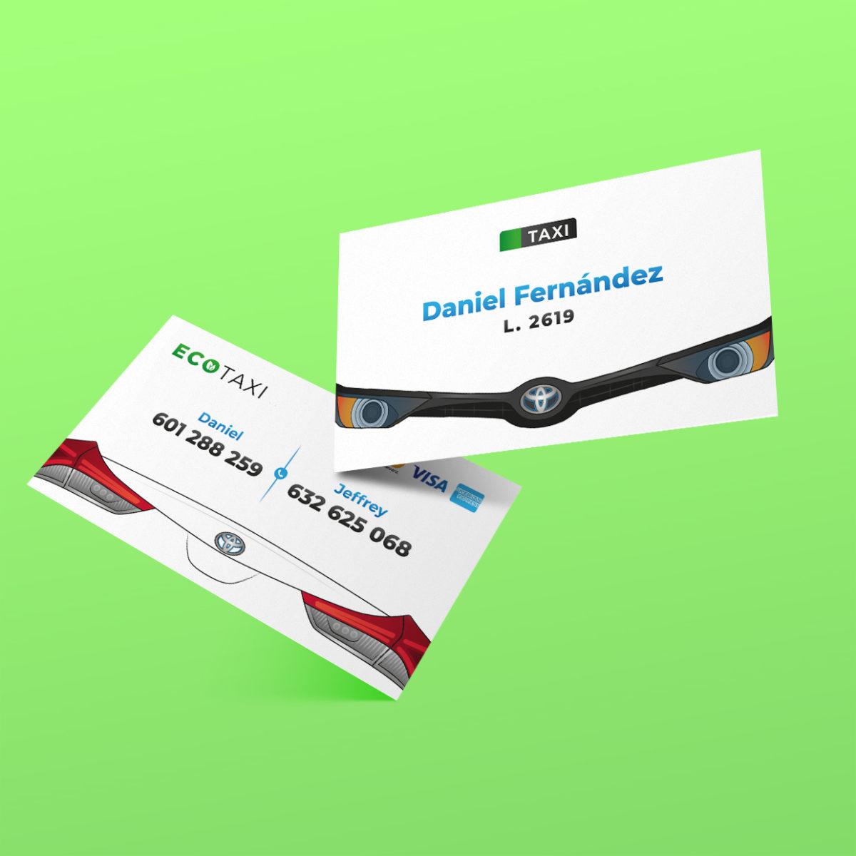 Diseño tarjetas de visita taxista Daniel Fernández